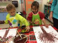 Fall tree finger painting. Our hands were covered in paint, but a great time was had by all.